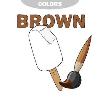 Ice cream - coloring page. worksheet. game for kids - coloring book. vector cartoon illustration, learn the color brown
