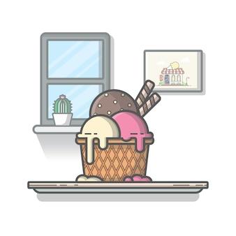 Мороженое комбо значок иллюстрации. летняя концепция