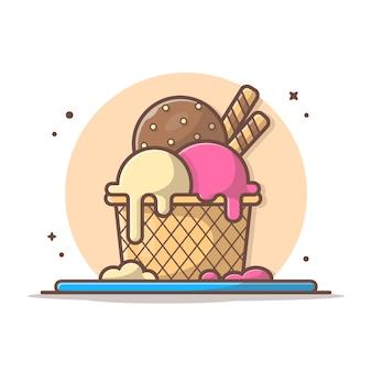 アイスクリームコンボベクトルアイコンイラスト。アイスクリームスクー、夏、アイスクリームアイコンコンセプトホワイト分離