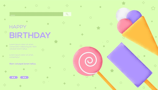 Ice cream concept flyer, web banner, ui header, enter site. grain texture and noise effect.