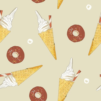 Ice-cream cone and donut, seamless pattern vector.