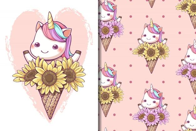 Ice cream cone unicorn with sunflower seamless pattern