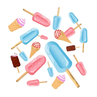 Ice cream cones and ice popsicles