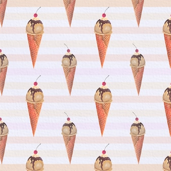 Ice cream cones pattern background
