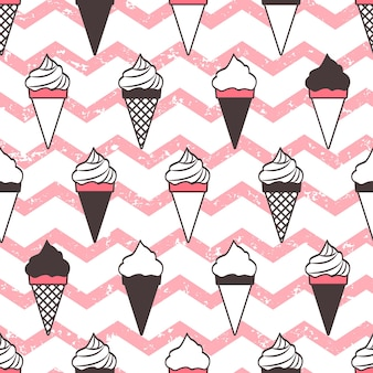 아이스크림 콘 완벽 한 패턴, 핑크 웨이브 그런 지입니다.