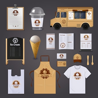 Ice cream corporate identity realistic design icons set
