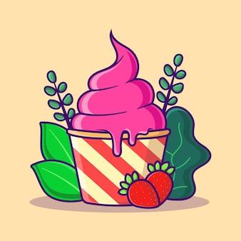 아이스크림 컵 만화 아이콘 그림 평면 만화 스타일 달콤한 음식 아이콘 개념 절연