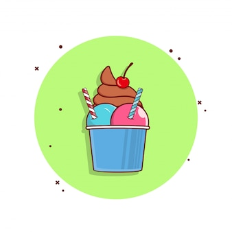 Ice cream cup large with meal icons illustration.