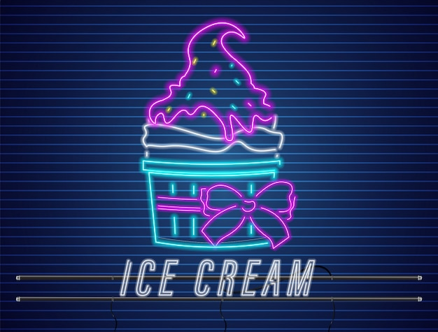 Ice cream cup with bow neon