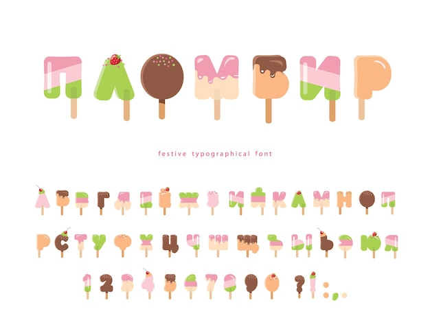 Ice cream cyrillic font popsicle cartoon alphabet