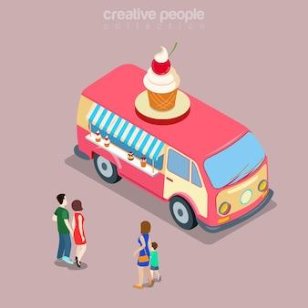 행복 히피 밴 평면 아이소 메트릭 개념에서 아이스크림 사막 달콤한 카페 패스트 푸드 거리 비스트로 레스토랑