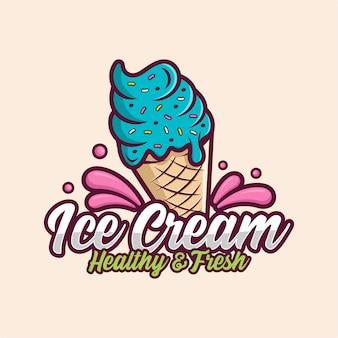 Логотип дизайна мороженого