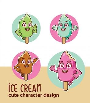 Ice cream design mascot character