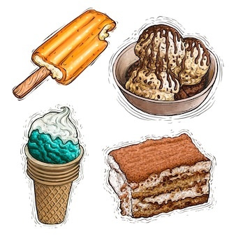Ice cream dessert creamsicle and tiramisu cake watercolor illustration