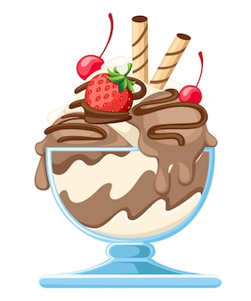 Ice cream dessert in a glass bowl illustration