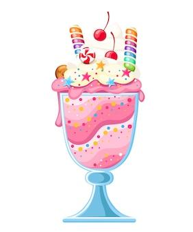 ガラスカップイラストのアイスクリームデザート