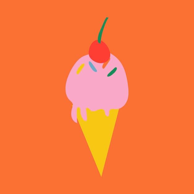 아이스크림 디저트 스티커, 복고풍 디자인 벡터의 귀여운 낙서 그림