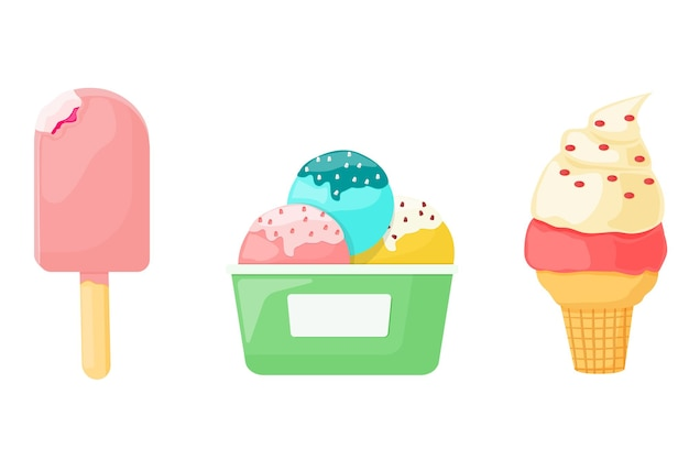 Ice cream, dessert in a waffle, a cardboard cup and on a stick. vector