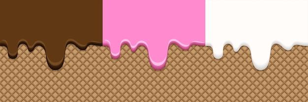 アイスクリームの異なる味の融解抽象的なかわいいベクトル