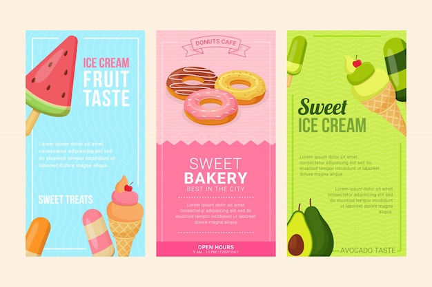 Ice cream and donuts advertise flyer set