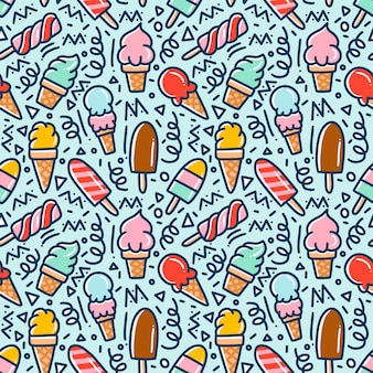 Ice cream doodle seamless pattern
