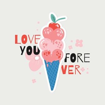 Элемент дня святого валентина каракули мороженого