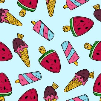아이스크림 낙서 벡터 원활한 패턴 배경