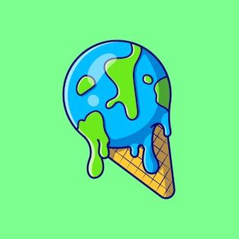 아이스크림 지구 물방울 녹아 만화 일러스트 레이션