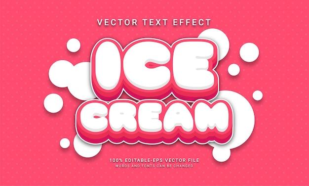 Ice cream editable text effect themed sweet food