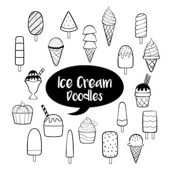 Ice cream elements with hand drawn doodles