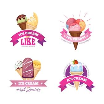 Ice cream emblems badges labels set