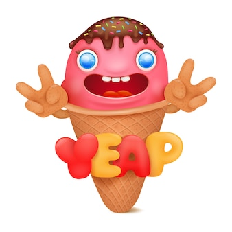 Ice cream emoticon cartoon character.