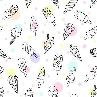 아이스크림, 에스키모, 와플 콘. 낙서와 만화 스타일의 완벽 한 패턴입니다.