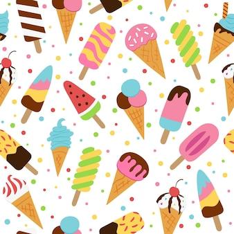 Ice cream, eskimo, waffle cone. vector illustration in doodle and cartoon style.