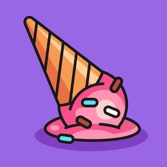Иллюстрация падения мороженого