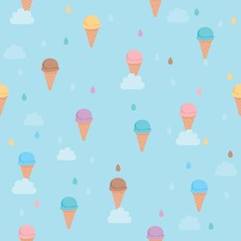 シームレスなパターンのために空のデザインに落ちるアイスクリーム。