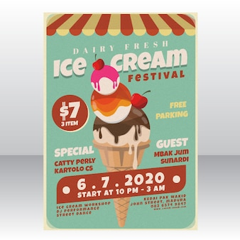 Ice cream festival poster template