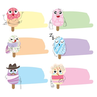 Ice cream flat cute icons and bubbles chat collection