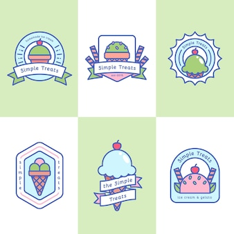 Ice cream flat design label collection