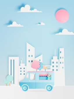 Ice cream food truck in paper art with city.