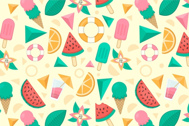 Ice cream and fruit zoom background Free Vector