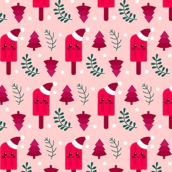 Мороженое смешной рождественский узор