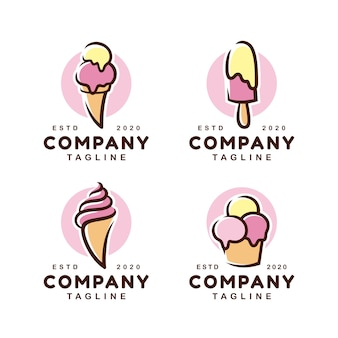 Ice cream gelato logo design template set