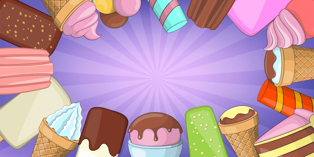 Ice cream horizontal background, cartoon style