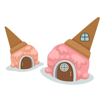 Ice cream house vector