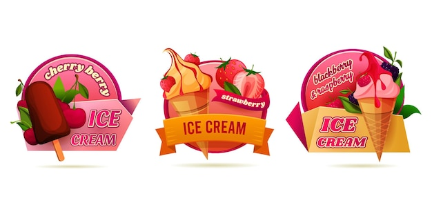 Ice cream or ice pops decorative label set