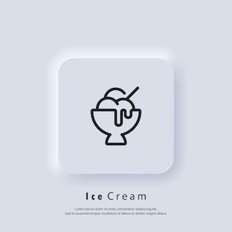 Значок мороженого. логотип мороженого. парфе, замороженный йогурт, мороженое с фруктами, ваниль, шоколад. вектор. значок пользовательского интерфейса. белая веб-кнопка пользовательского интерфейса neumorphic ui ux.
