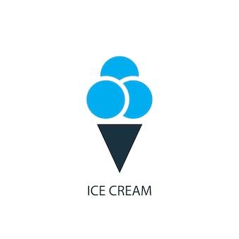 아이스크림 아이콘입니다. 로고 요소 그림입니다. 2가지 색상 컬렉션의 아이스크림 심볼 디자인. 간단한 아이스크림 개념입니다. 웹 및 모바일에서 사용할 수 있습니다.