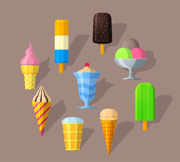 Ice cream icons in flat style and long shadow. detailed flat style.
