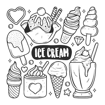 Ice cream icons hand drawn doodle coloring